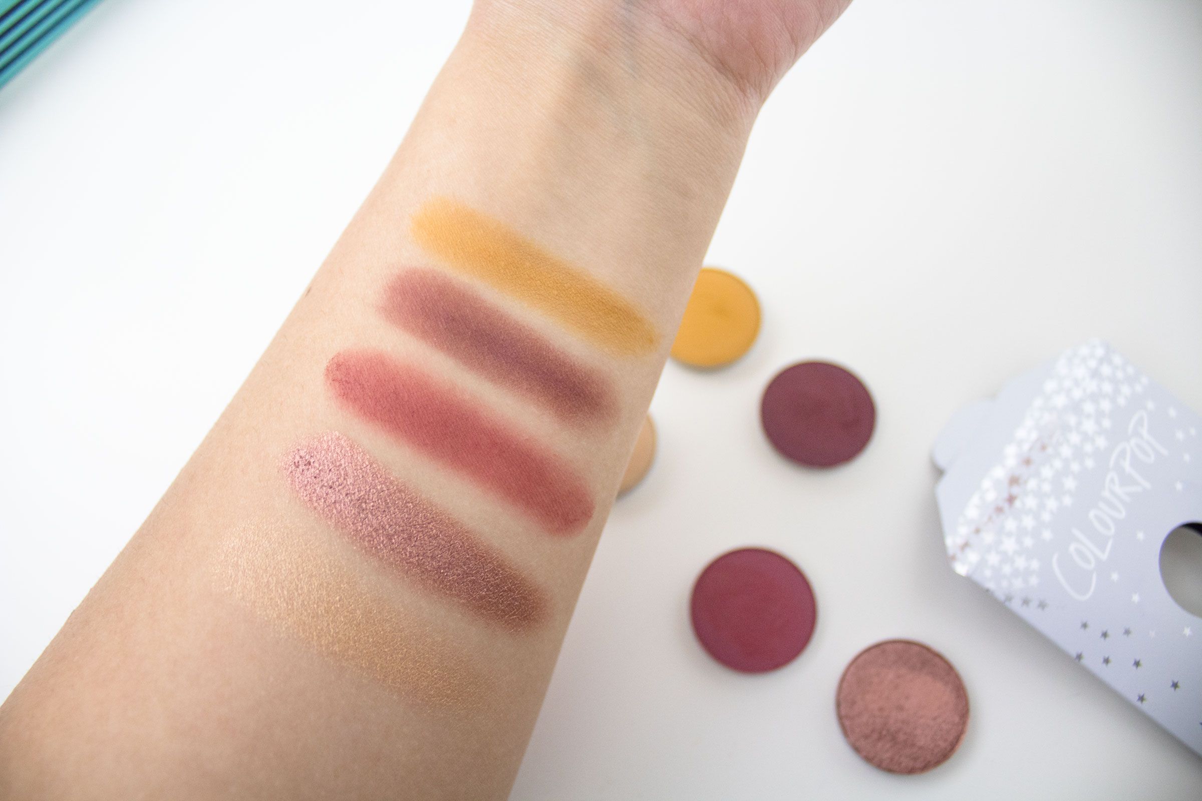colourpop pressed shadows paper tiger, hi maintenance palette swatches